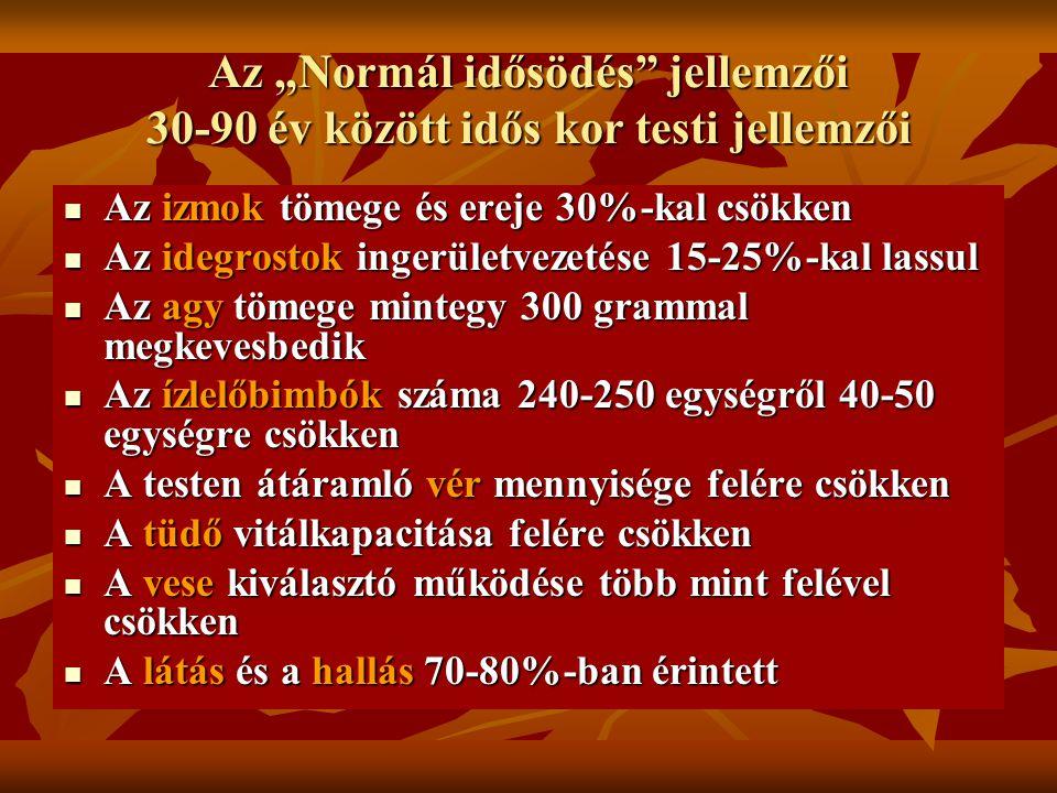 """Az """"Normál idősödés jellemzői 30-90 év között idős kor testi jellemzői"""