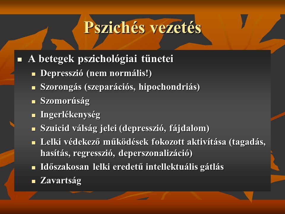 Pszichés vezetés A betegek pszichológiai tünetei