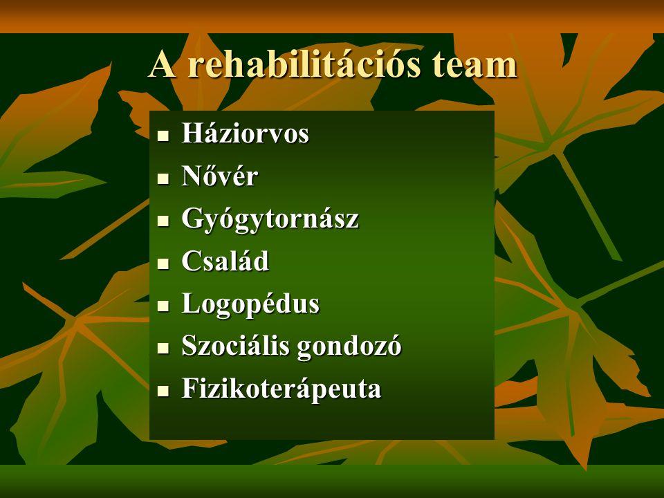 A rehabilitációs team Háziorvos Nővér Gyógytornász Család Logopédus