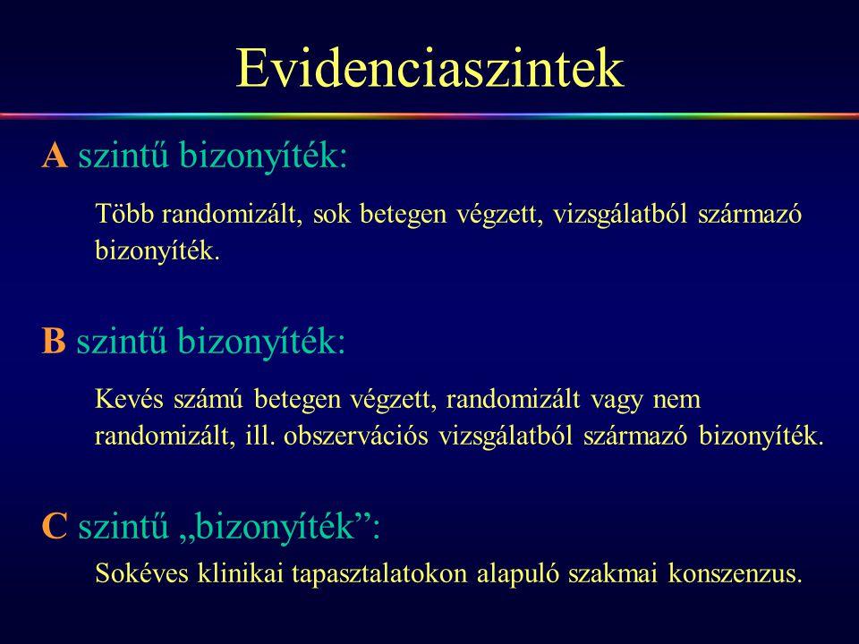Evidenciaszintek A szintű bizonyíték: