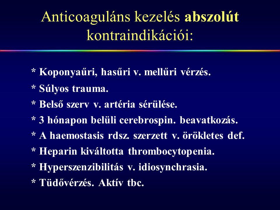 Anticoaguláns kezelés abszolút kontraindikációi: