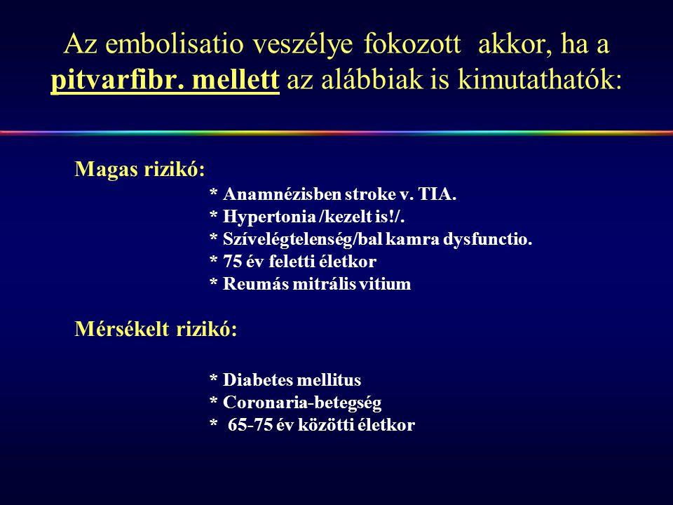 Az embolisatio veszélye fokozott akkor, ha a pitvarfibr