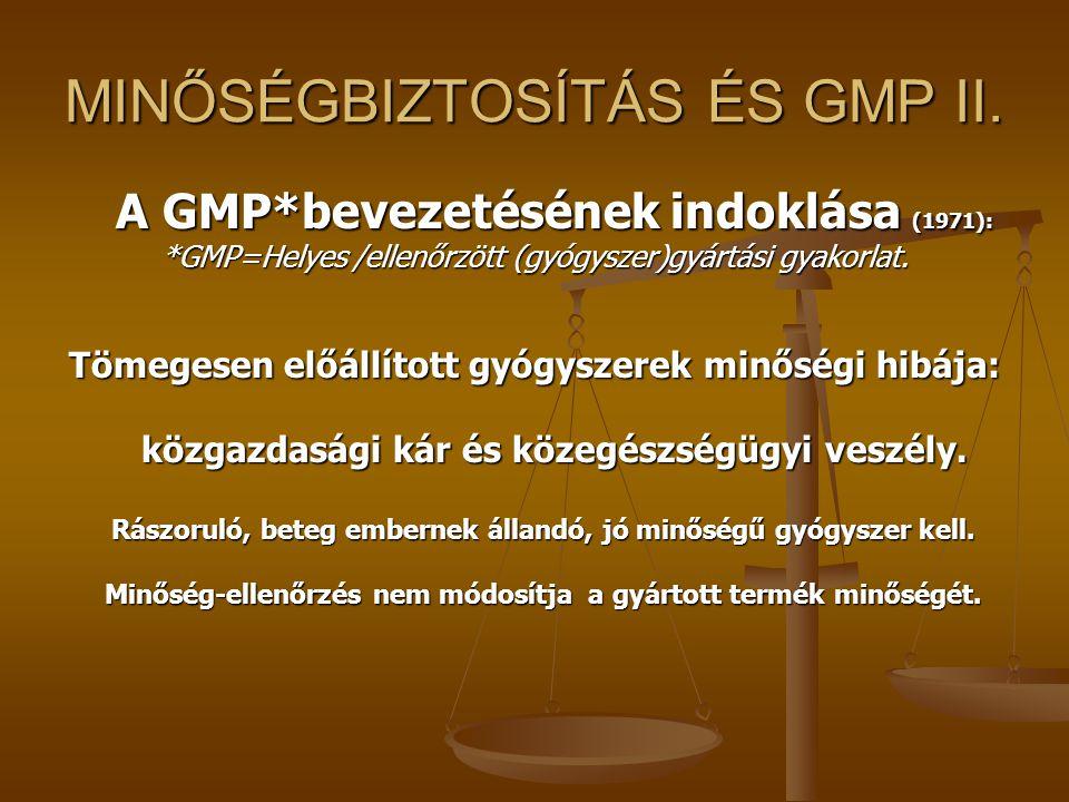 MINŐSÉGBIZTOSÍTÁS ÉS GMP II.