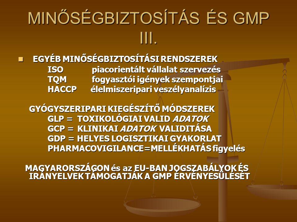 MINŐSÉGBIZTOSÍTÁS ÉS GMP III.