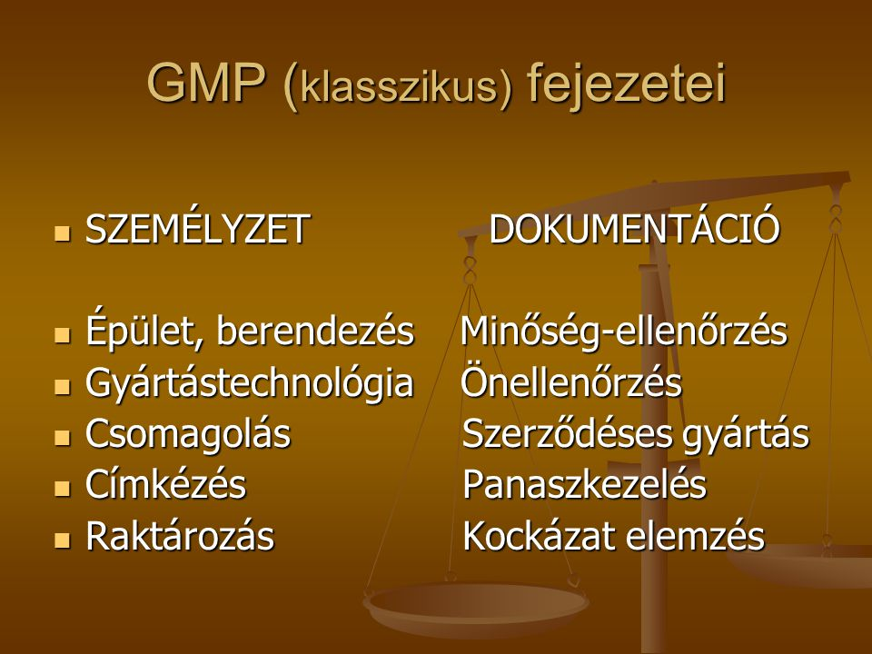 GMP (klasszikus) fejezetei