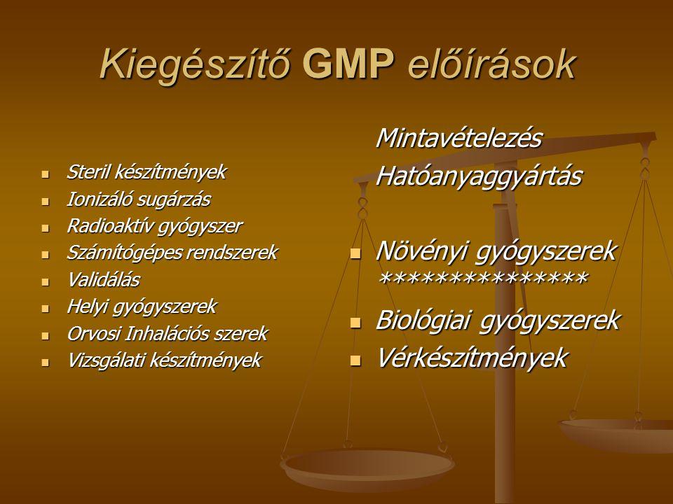 Kiegészítő GMP előírások