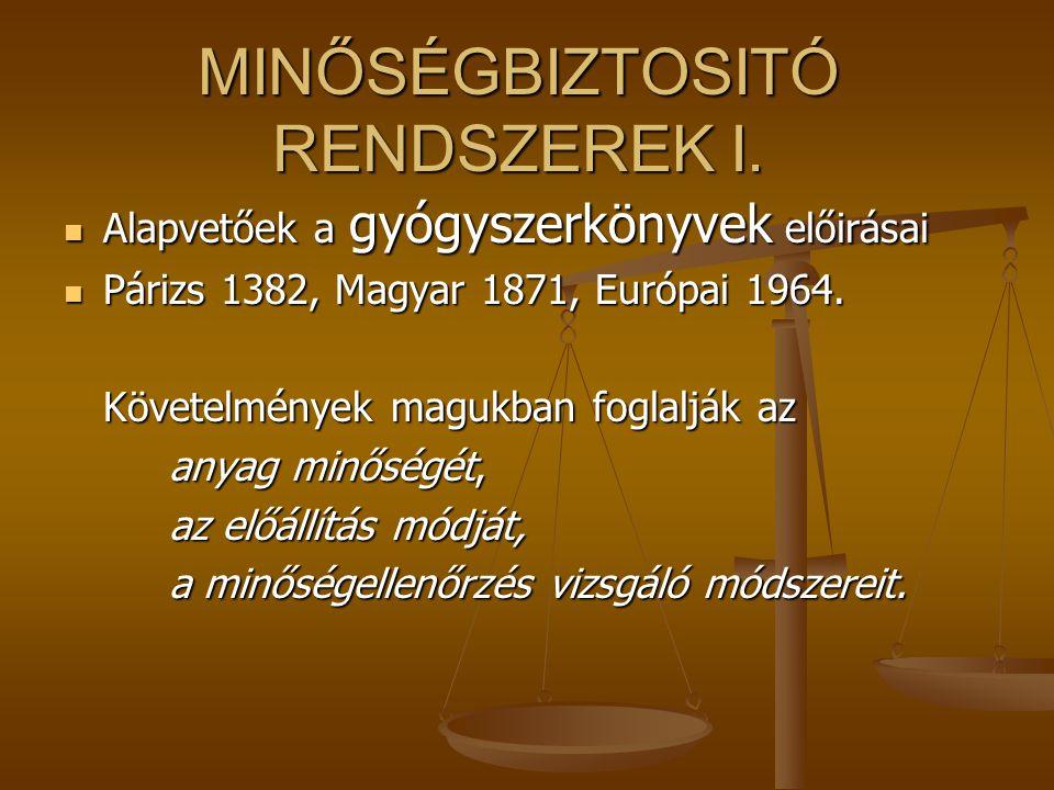 MINŐSÉGBIZTOSITÓ RENDSZEREK I.