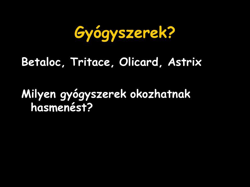 Gyógyszerek Betaloc, Tritace, Olicard, Astrix