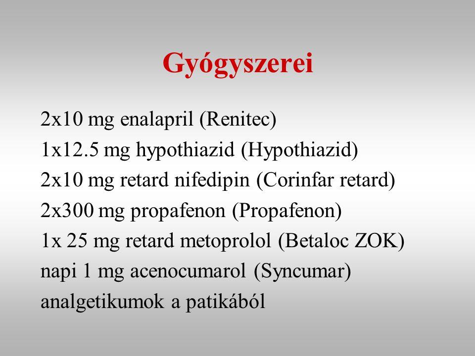 Gyógyszerei 2x10 mg enalapril (Renitec)