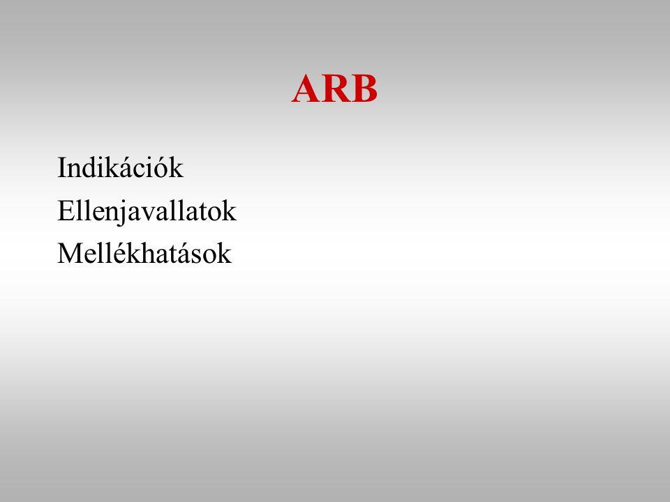 ARB Indikációk Ellenjavallatok Mellékhatások