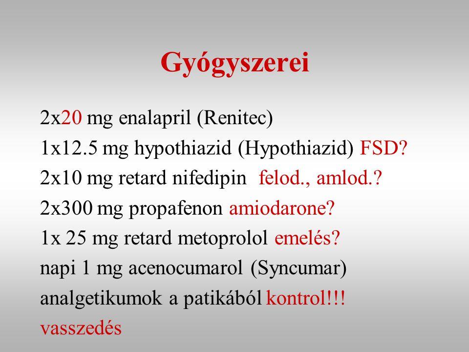 Gyógyszerei 2x20 mg enalapril (Renitec)