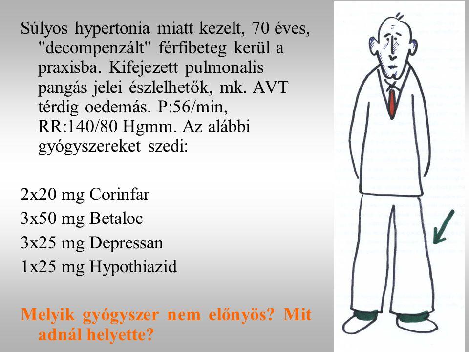 Súlyos hypertonia miatt kezelt, 70 éves, decompenzált férfibeteg kerül a praxisba. Kifejezett pulmonalis pangás jelei észlelhetők, mk. AVT térdig oedemás. P:56/min, RR:140/80 Hgmm. Az alábbi gyógyszereket szedi: