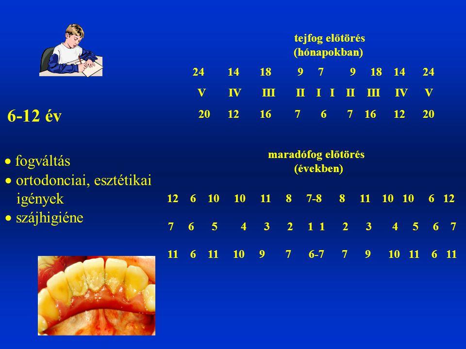 6-12 év  fogváltás  ortodonciai, esztétikai igények  szájhigiéne
