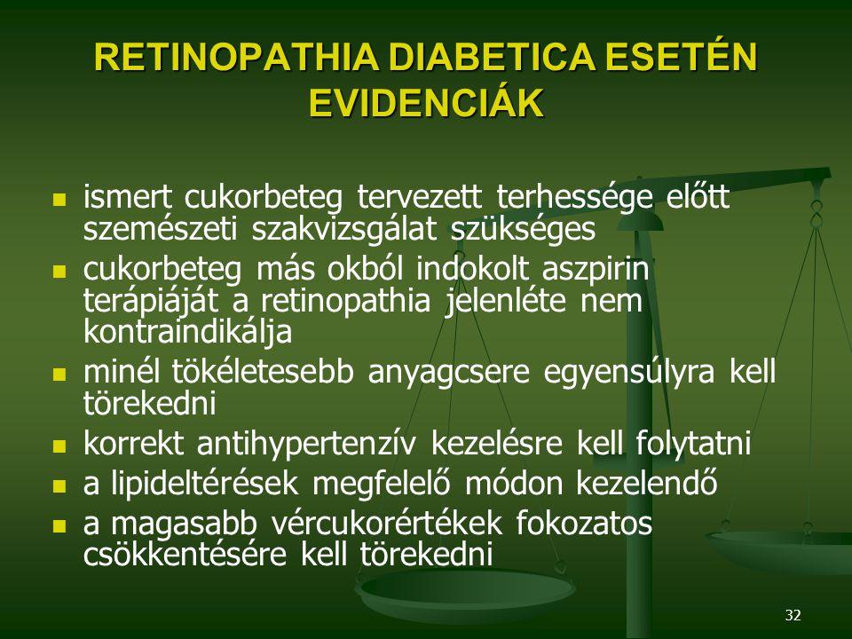 RETINOPATHIA DIABETICA ESETÉN EVIDENCIÁK