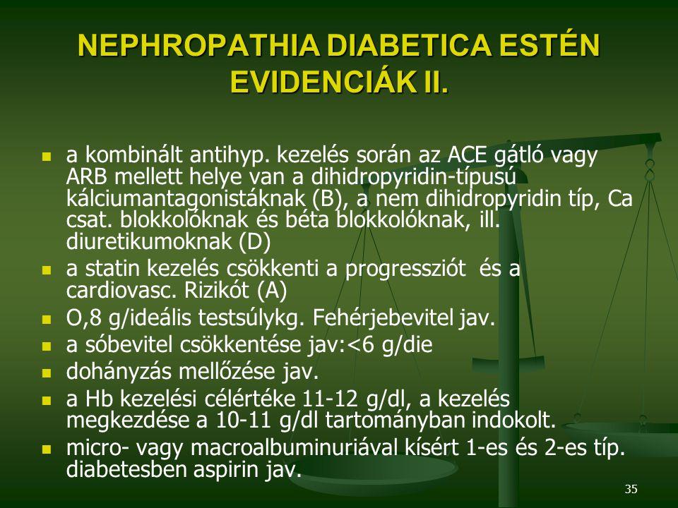 NEPHROPATHIA DIABETICA ESTÉN EVIDENCIÁK II.