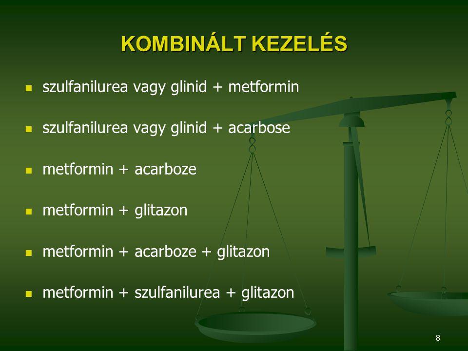 KOMBINÁLT KEZELÉS szulfanilurea vagy glinid + metformin