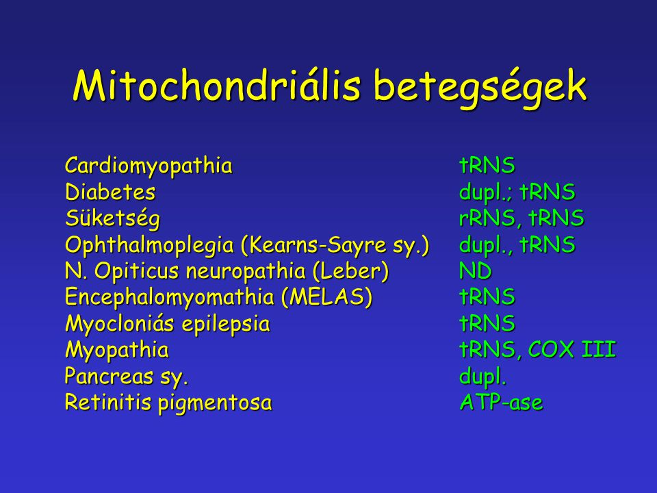 Mitochondriális betegségek