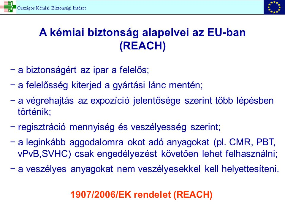 A kémiai biztonság alapelvei az EU-ban (REACH)