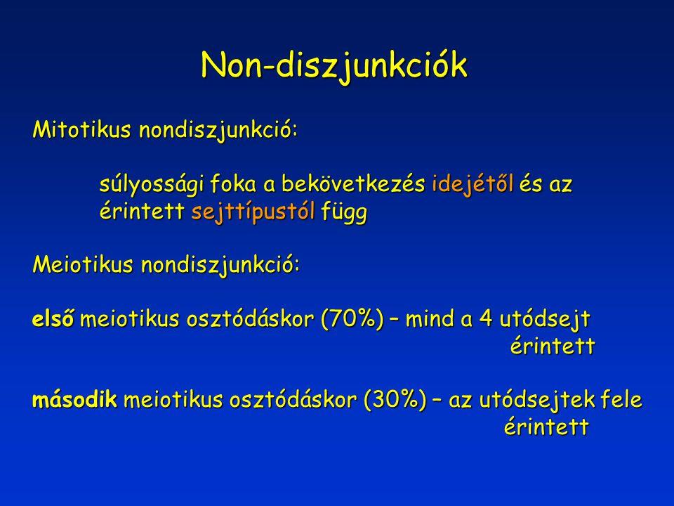 Non-diszjunkciók Mitotikus nondiszjunkció: