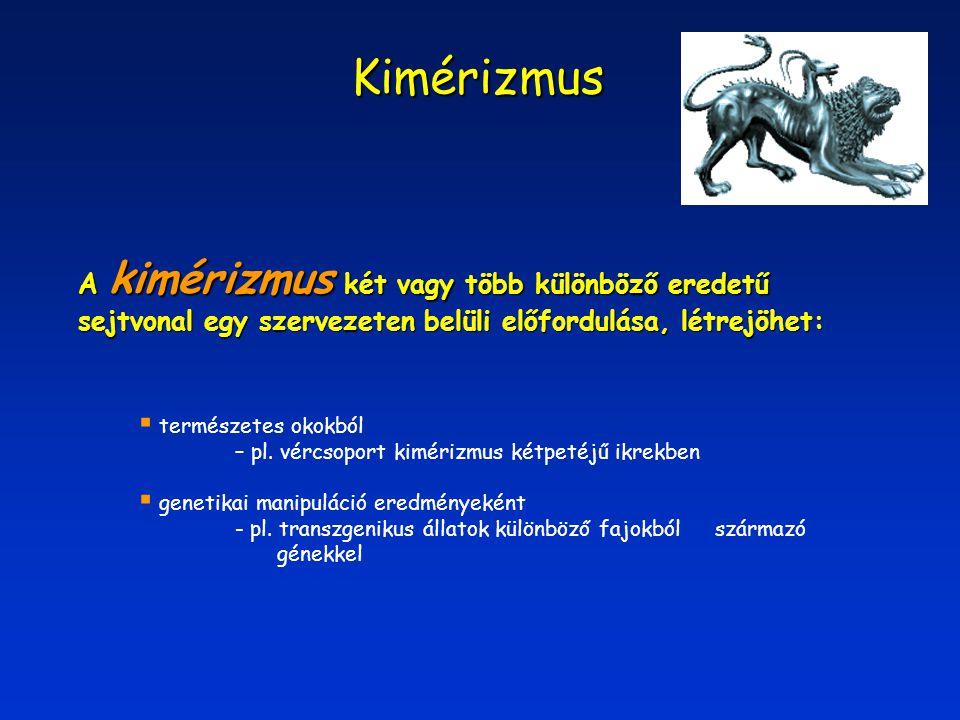 Kimérizmus A kimérizmus két vagy több különböző eredetű sejtvonal egy szervezeten belüli előfordulása, létrejöhet: