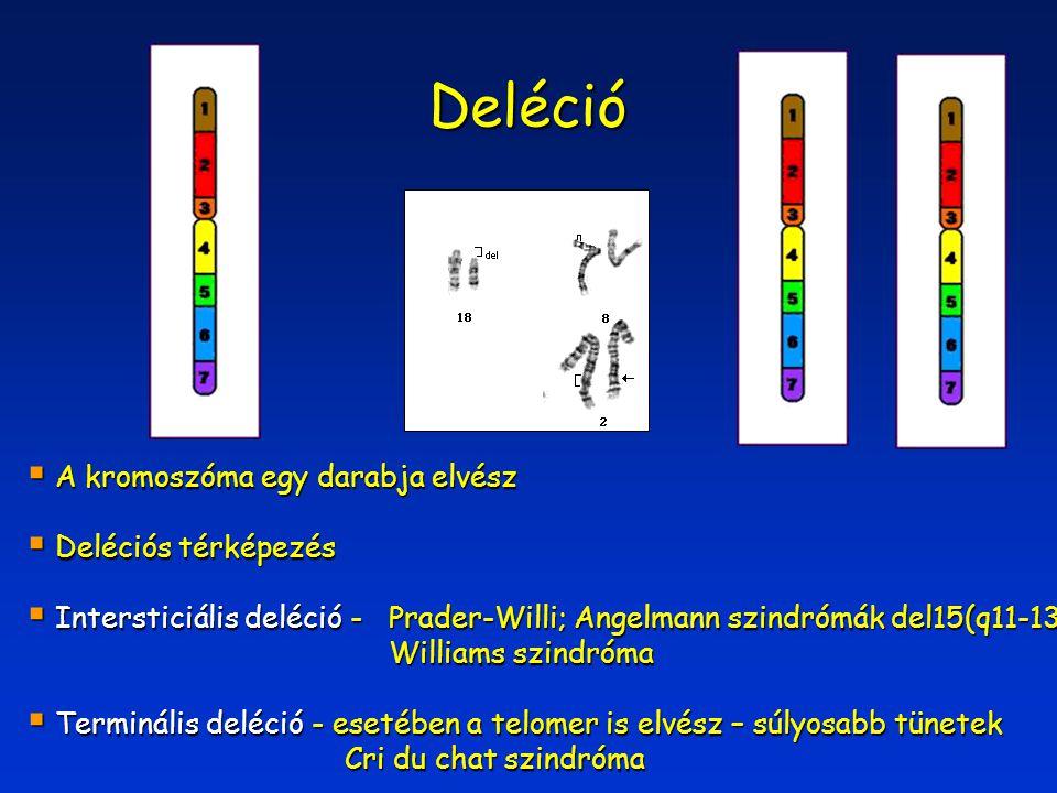 Deléció A kromoszóma egy darabja elvész Deléciós térképezés