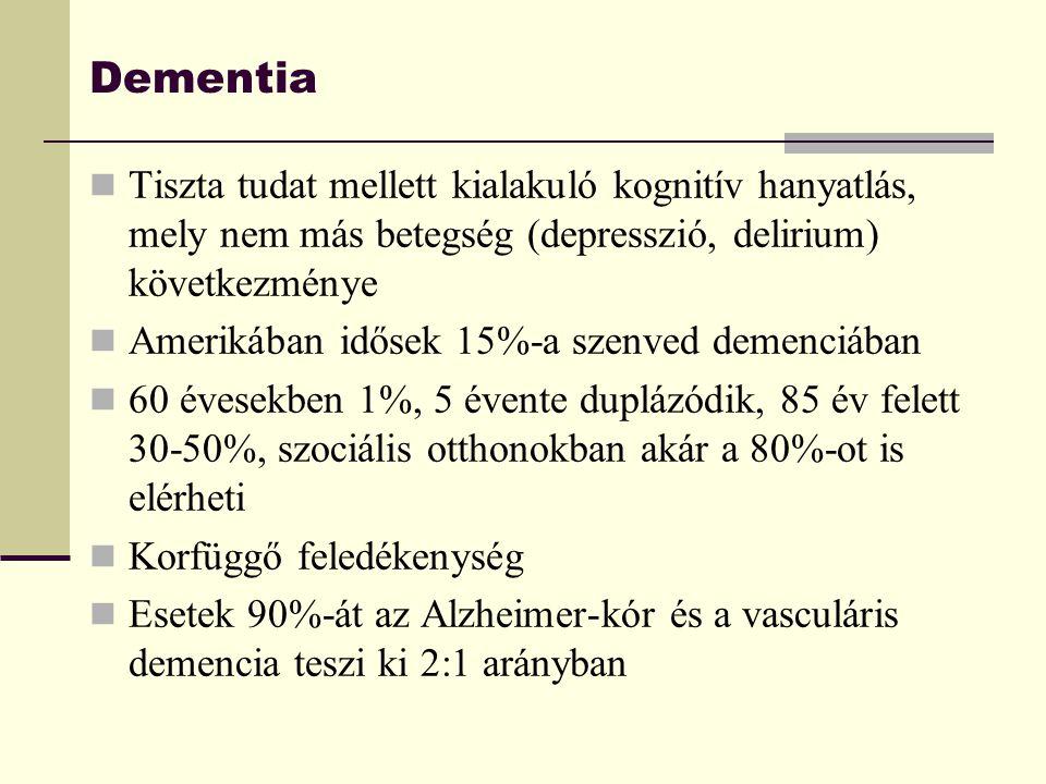 Dementia Tiszta tudat mellett kialakuló kognitív hanyatlás, mely nem más betegség (depresszió, delirium) következménye.