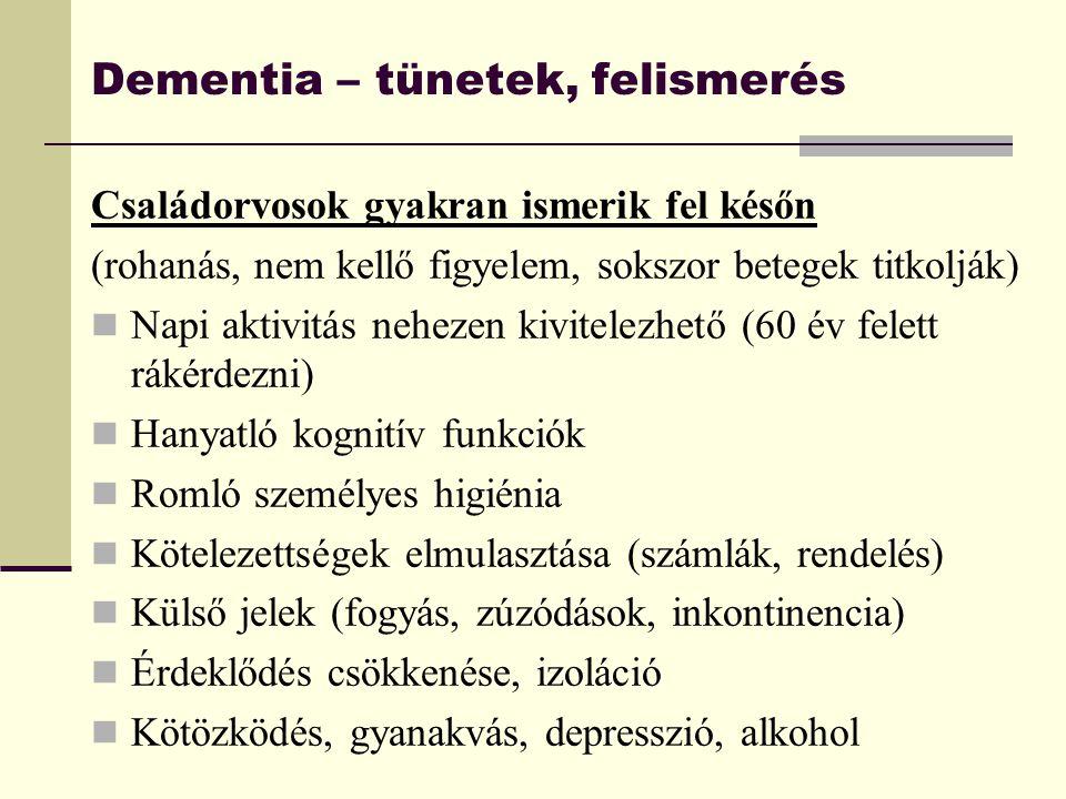 Dementia – tünetek, felismerés