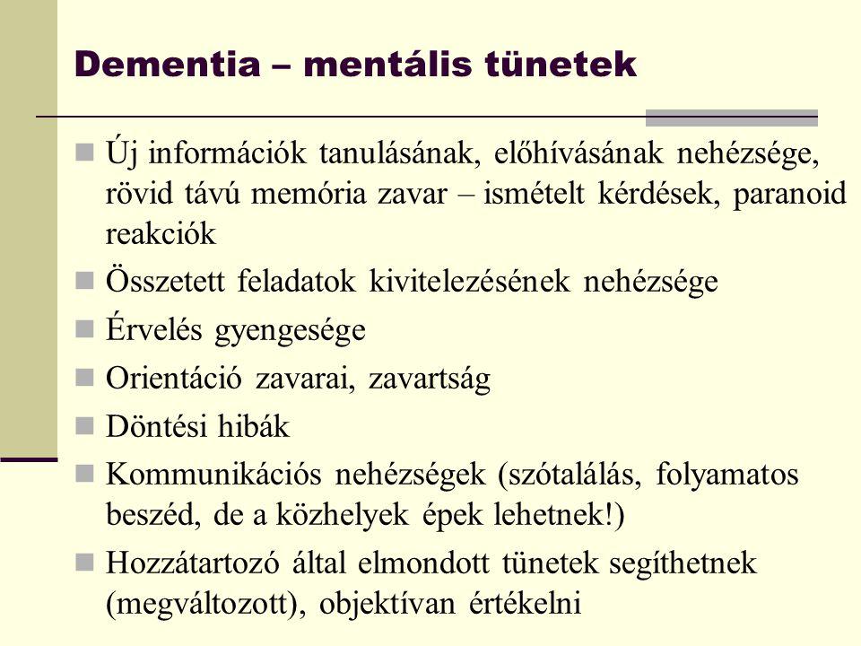 Dementia – mentális tünetek