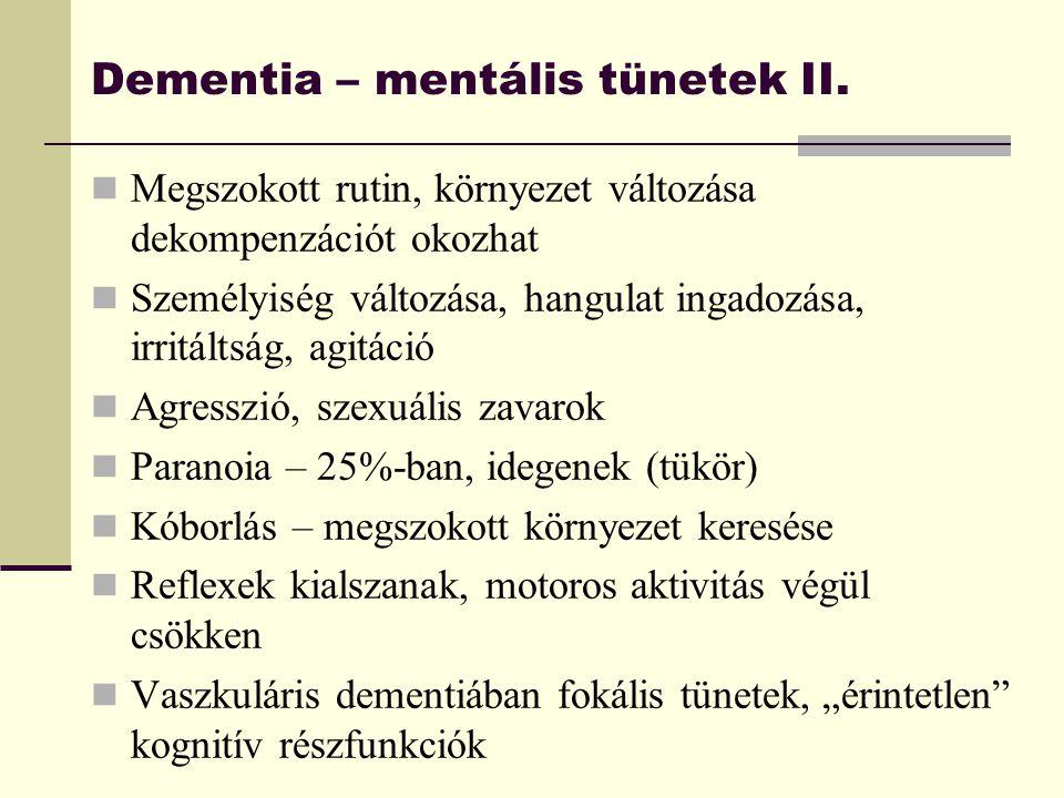Dementia – mentális tünetek II.