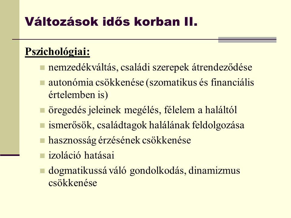 Változások idős korban II.