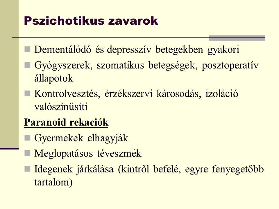 Pszichotikus zavarok Dementálódó és depresszív betegekben gyakori