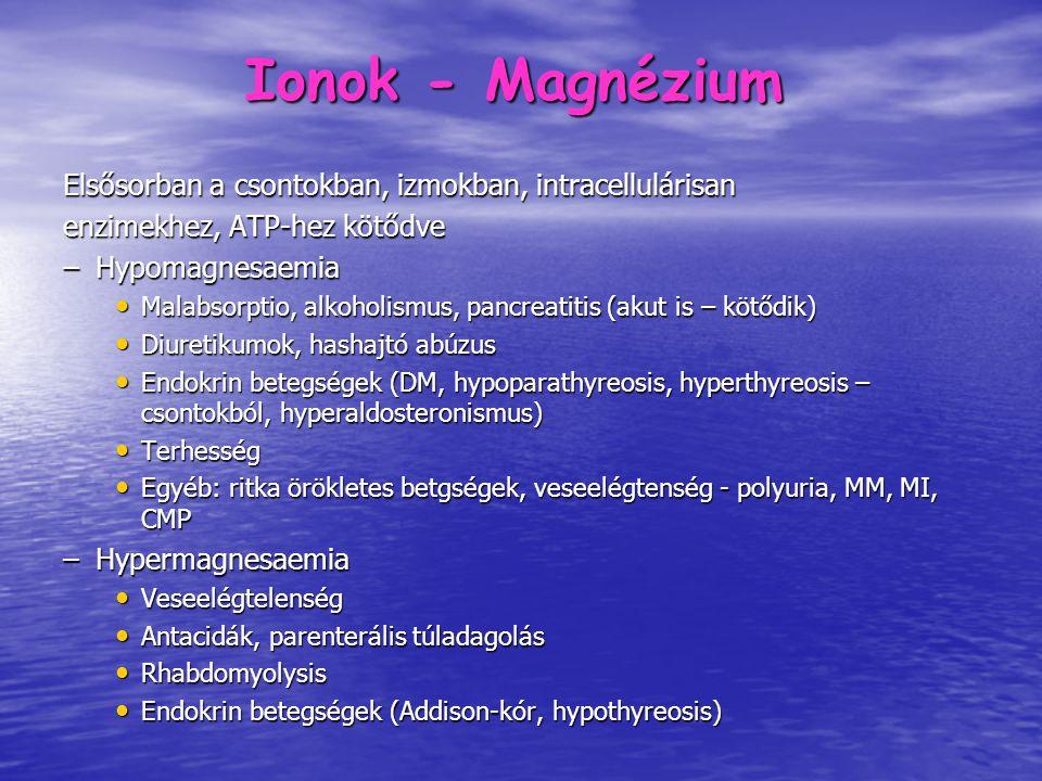 Ionok - Magnézium Elsősorban a csontokban, izmokban, intracellulárisan