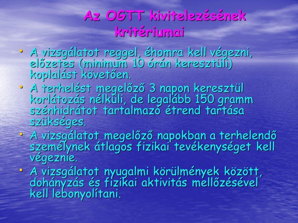 Az OGTT kivitelezésének kritériumai