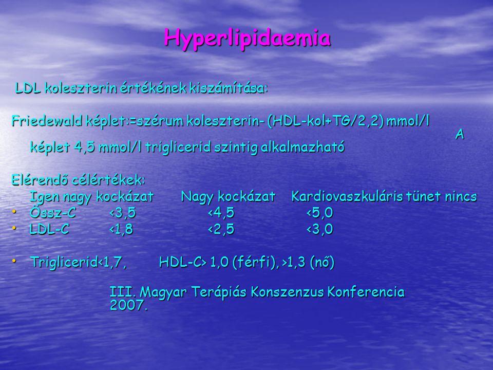 Hyperlipidaemia LDL koleszterin értékének kiszámítása: