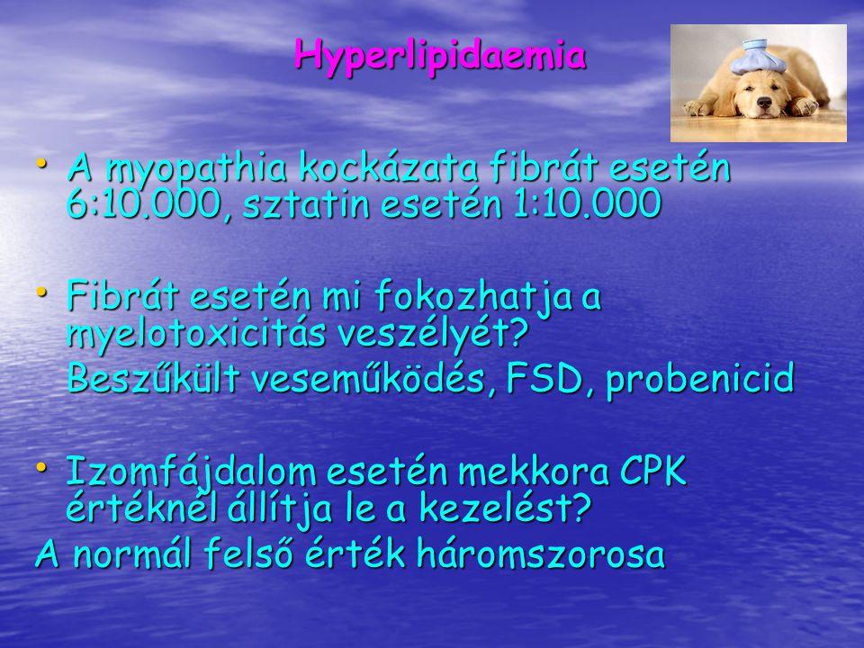 Hyperlipidaemia A myopathia kockázata fibrát esetén 6:10.000, sztatin esetén 1:10.000. Fibrát esetén mi fokozhatja a myelotoxicitás veszélyét