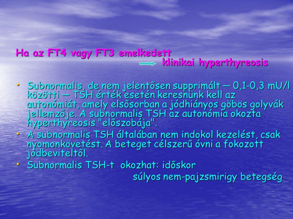 Ha az FT4 vagy FT3 emelkedett klinikai hyperthyreosis
