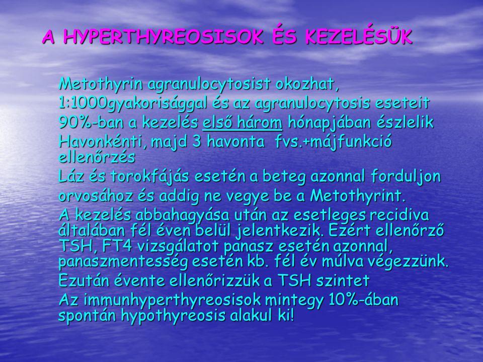 A HYPERTHYREOSISOK ÉS KEZELÉSÜK