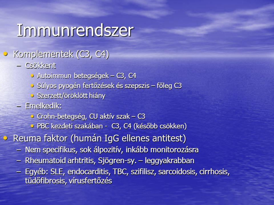 Immunrendszer Komplementek (C3, C4)