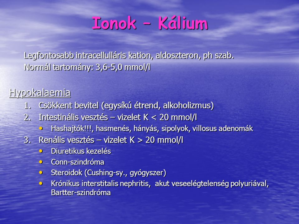 Ionok – Kálium Hypokalaemia