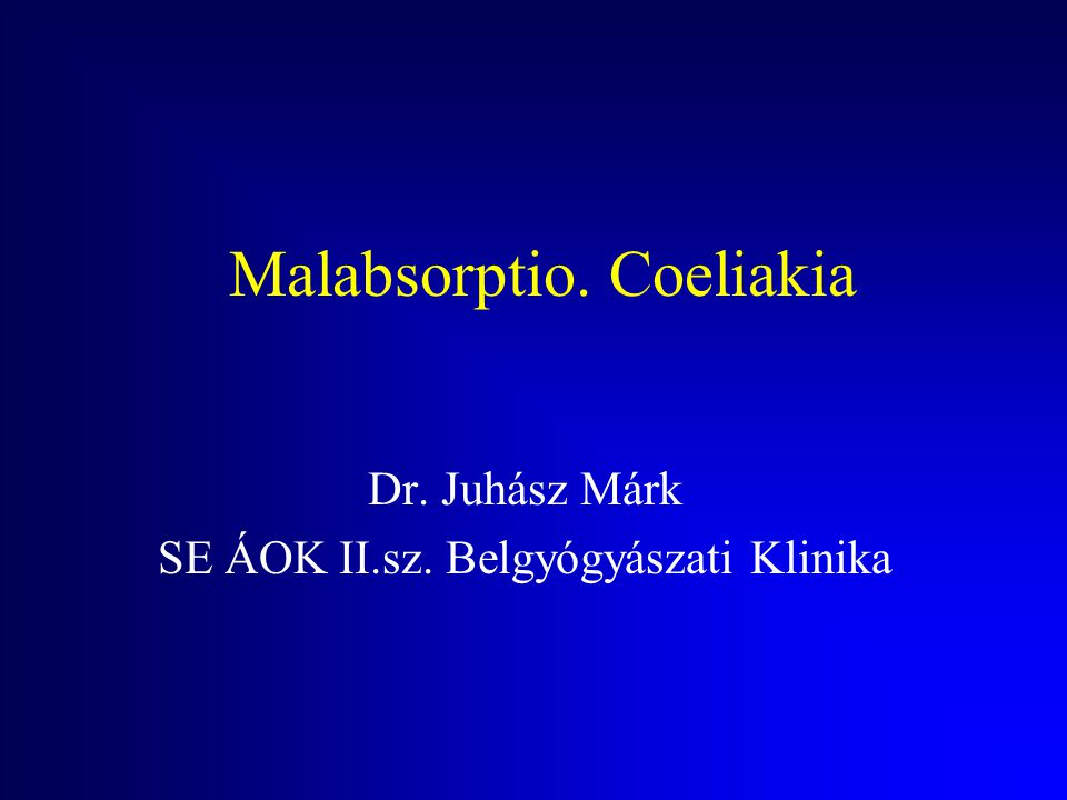 Malabsorptio. Coeliakia