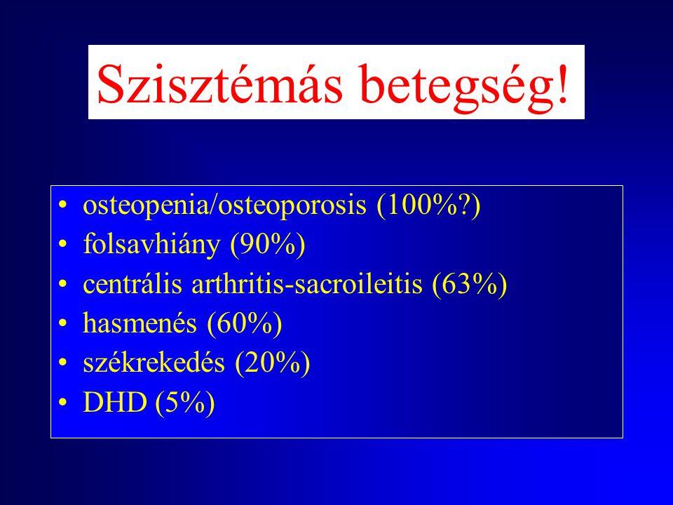 Szisztémás betegség! osteopenia/osteoporosis (100% ) folsavhiány (90%)