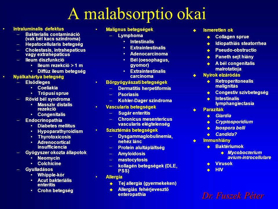 A malabsorptio okai Dr. Fuszek Péter lntraluminalis defektus