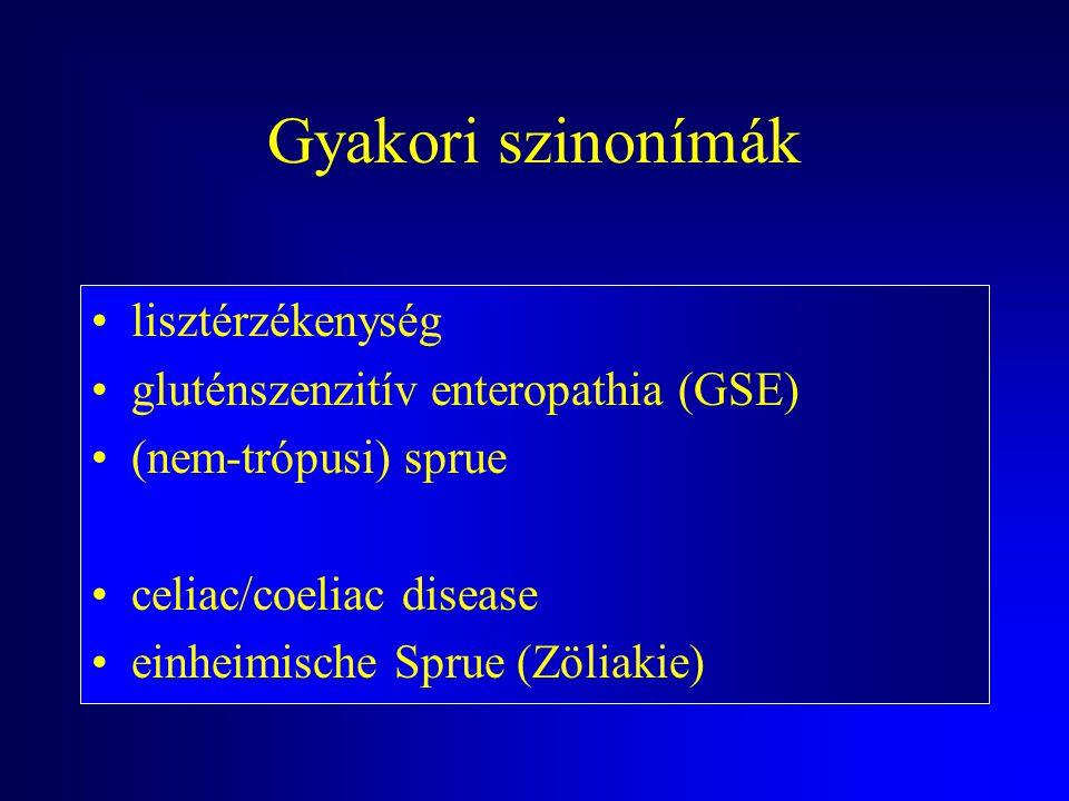 Gyakori szinonímák lisztérzékenység gluténszenzitív enteropathia (GSE)