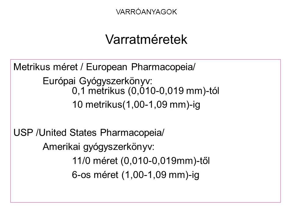 Varratméretek Metrikus méret / European Pharmacopeia/
