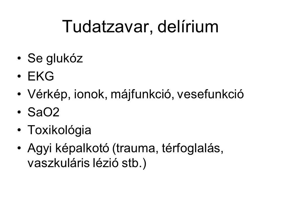 Tudatzavar, delírium Se glukóz EKG