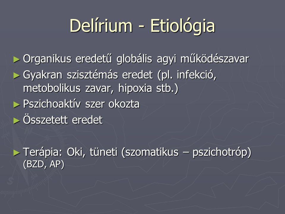 Delírium - Etiológia Organikus eredetű globális agyi működészavar
