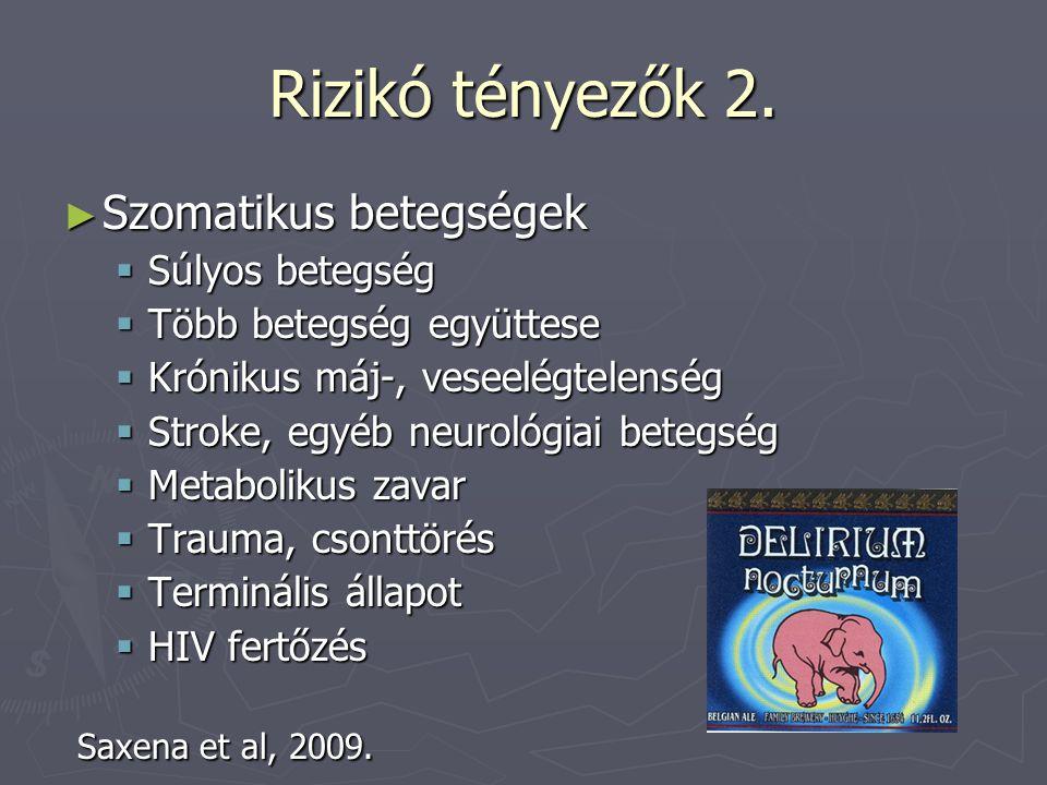 Rizikó tényezők 2. Szomatikus betegségek Saxena et al, 2009.