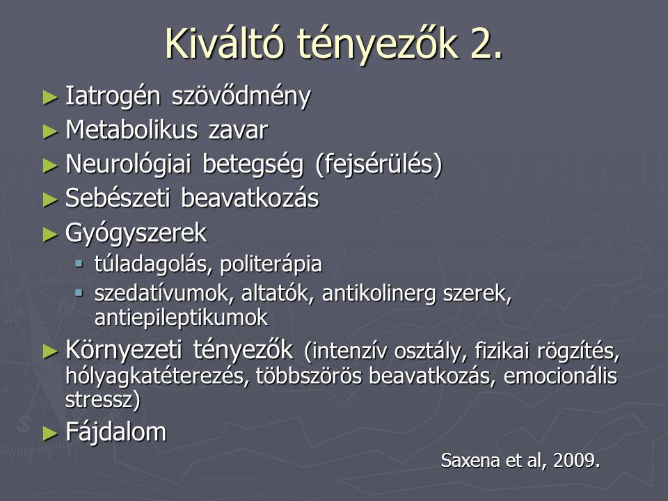 Kiváltó tényezők 2. Iatrogén szövődmény Metabolikus zavar