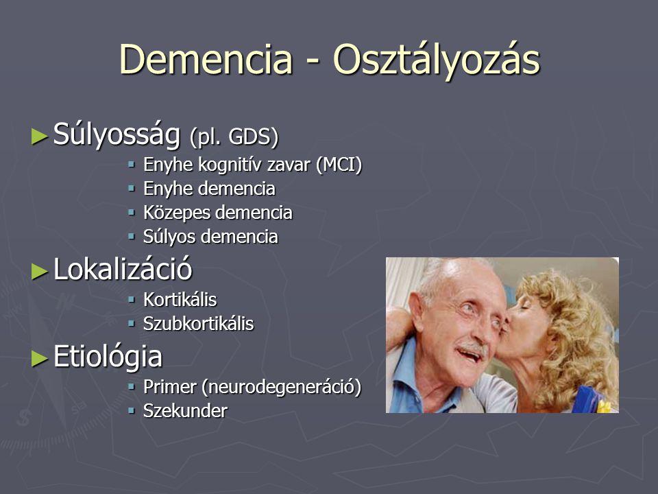 Demencia - Osztályozás