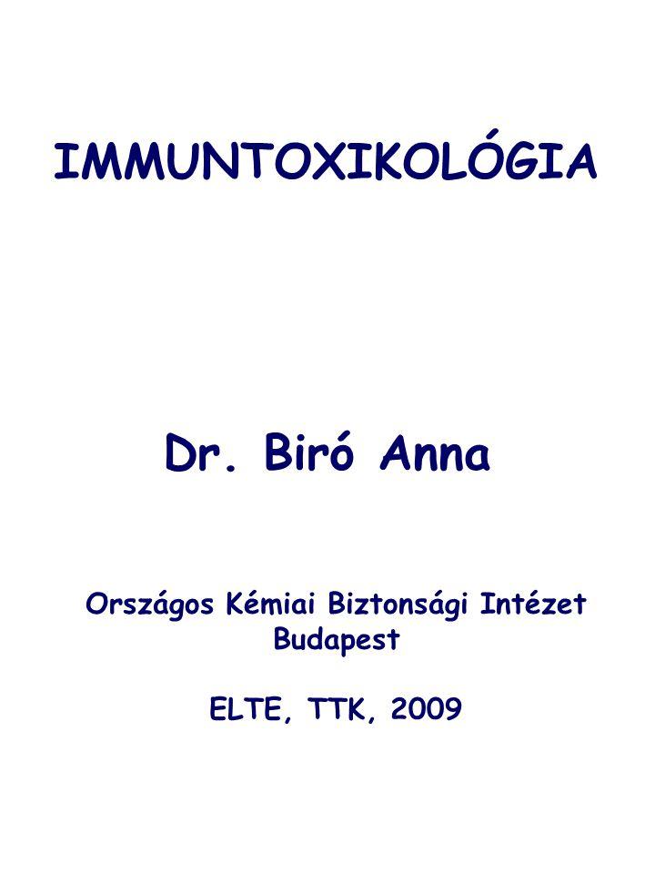 IMMUNTOXIKOLÓGIA Dr. Biró Anna